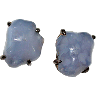 CHINESE EXPORT Sterling Silver Lavender Agate Chalcedony Clip Earrings, Vintage