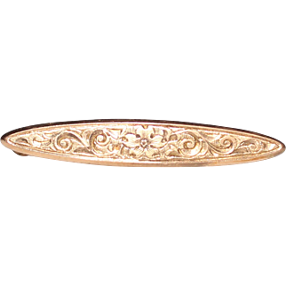 Antique 14k Yellow Gold Engraved Flower Bar Pin Brooch, 1.4 Grams