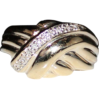 Vintage Estate 10k Yellow Gold Diamond Domed Band Ring, Size 5.5, .10 CTW