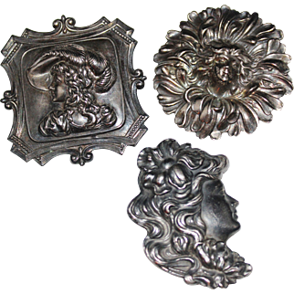 Set of Art Nouveau Revival Silver Plate Brooches Lady Profiles, Gibson Girls