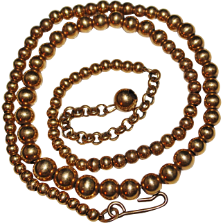"Vintage Gold Filled Graduated Bead Necklace, 3mm to 6mm, 16"" Long"