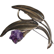 Vintage Mexican Sterling Silver AMETHYST Tulip Brooch Pin - LARGE - Mexico