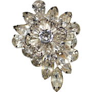 Gorgeous Vintage Clear Rhinestone Brooch by WEISS