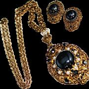 Vintage WEST GERMANY Filigree Black Hematite Glass & Faux Pearl Necklace Earrings Set