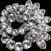 Vintage EISENBERG Clear Rhinestone Wreath Swirl Brooch