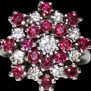 Sparkling Vintage 14k White Gold Ruby & Diamond Cluster Cocktail Ring