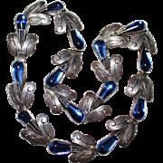 "TAXCO Mexico Vintage Sterling Blue Glass Necklace, F. Pichardo, 18"", 52.2 Grams"
