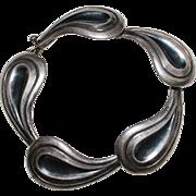 Gerardo LOPEZ Taxco Sterling Silver Modernist Bracelet, Eagle #26, 29.6 Grams