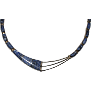 "Vintage 950 Sterling Mexico SODALITE Inlay Necklace, 16"", 38.3 Grams"