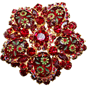 HTF Juliana Delizza & Elster Etched Flower SIAM Red Rhinestone Brooch - D&E