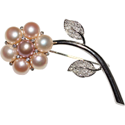 Gorgeous 14k White Gold Pink Pearl & Diamond Flower Brooch Pin - Figural, 10.8 G