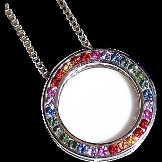 Brilliant 14k White Gold RAINBOW SAPPHIRE Circle Pendant Necklace, 1.20CTW, 6.4G