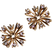 Pretty Estate 14k Yellow Gold Diamond Starburst Earring Jackets for Studs .24CTW