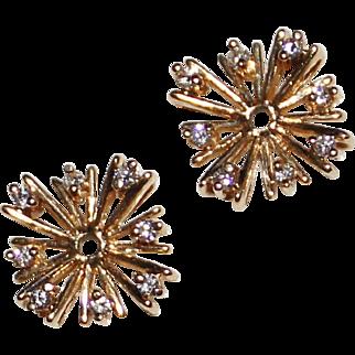 Pretty Estate 14k Yellow Gold Diamond Starburst Earring Jackets for Studs .24CTW