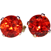 Gorgeous Orange Padparadscha Sapphire Stud Earrings 3 CTW - 14k Yellow Gold