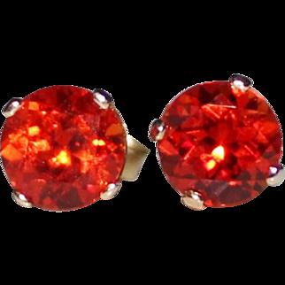 Gorgeous Orange Padparadscha Sapphire Stud Earrings 3 CTW - 14k Yellow Gold