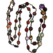 Antique EDWARDIAN Gunmetal Sterling Multi Gemstone Old Cuts Necklace, Graduated