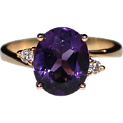 14k Gold 2.18 CTW Amethyst & Diamond Estate Ring, Size 6.25
