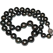 Estate 18K White Gold 9-13 mm Peacock Tahitian Pearl & 1CTW Diamond Necklace