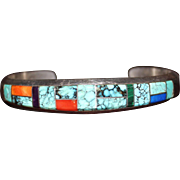 Navajo Turquoise Coral Lapis & Spiny Oyster Inlay Cuff Bracelet, Sterling Signed