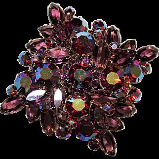 Beautiful Vintage Juliana Delizza & Elster Purple Red AB Rhinestone Brooch