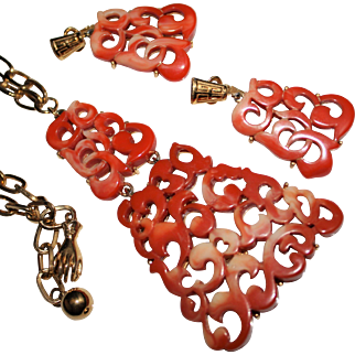 Bold Vintage KRAMER Molded Faux Coral Chinese Necklace, Earrings Set
