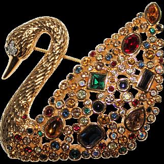 Signed Swarovski Swan Multi Color Crystal Brooch - In Box, 1995 100th YR LMTD ED