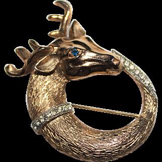 Vintage PUCCINI Goldtone Deer or Elk Figural Rhinestone Brooch