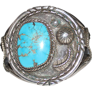 Vintage CHEROKEE Indian Artist Signed George Gill Turquoise Cuff Bracelet - 1980