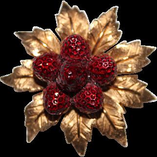 Vintage BOUCHER Red Enamel Strawberry Cluster Brooch Pin, 9774P