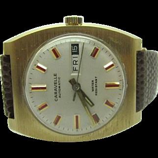 Vintage 1972 Mens Caravelle by Bulova 17 jewel Automatic watch near mint