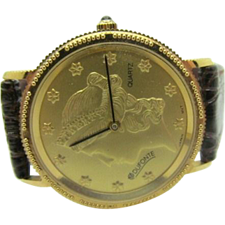 Dufonte by Lucien Piccard gold coin replica watch with bonus mint condition runs