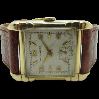 Vintage 1950s Mid Century Mens Wittnauer-Longines watch Fancy case very fine