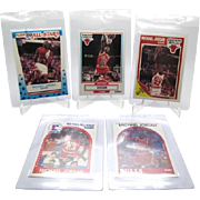 "The ""Essential 5"" Michael Jordan Collectors lot 1989 Fleer Sticker #3,Base #21"