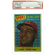 1958 Topps #490 Ed Bailey All Star Psa Graded 7.0 Near Mint 25986266