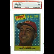1958 Topps #490 Ed Bailey All Star Psa Graded 7.0 Near Mint 25986266