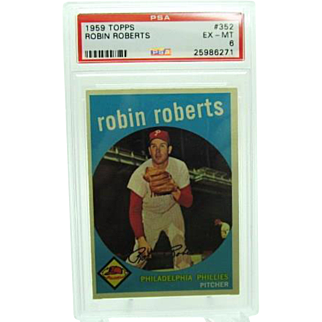 1959 Topps #352 Robin Roberts Psa Graded 6 Excellent- Mint 25986271