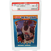 1990 Fleer All-Star #5 MIchael Jordan HOF PSA graded Nm- mint 8 Hot Card!!