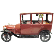 Vintage 1950s Bandai 1915 Ford Model T tin lithograph friction type car red