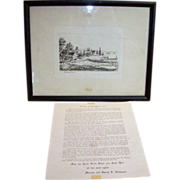 Antique etching of Gowanus Bay Brooklyn New York 1867