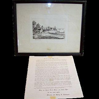 Antique etching of Gowanus Bay Brooklyn New York 1867