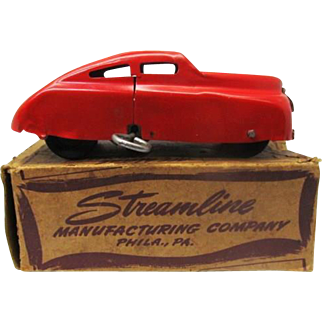 "Rare 1930s Streamline Mfg Co.""Mechanical Auto"" All Metal wind up car in box"