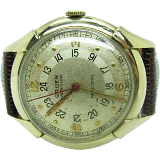 Vintage rare 1950S Mens Gruen Pan American Ace Pilot watch new crystal and band