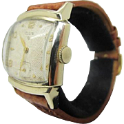 Vintage 1950s Mens Elgin wrist watch fine condition 683 cal textured dial