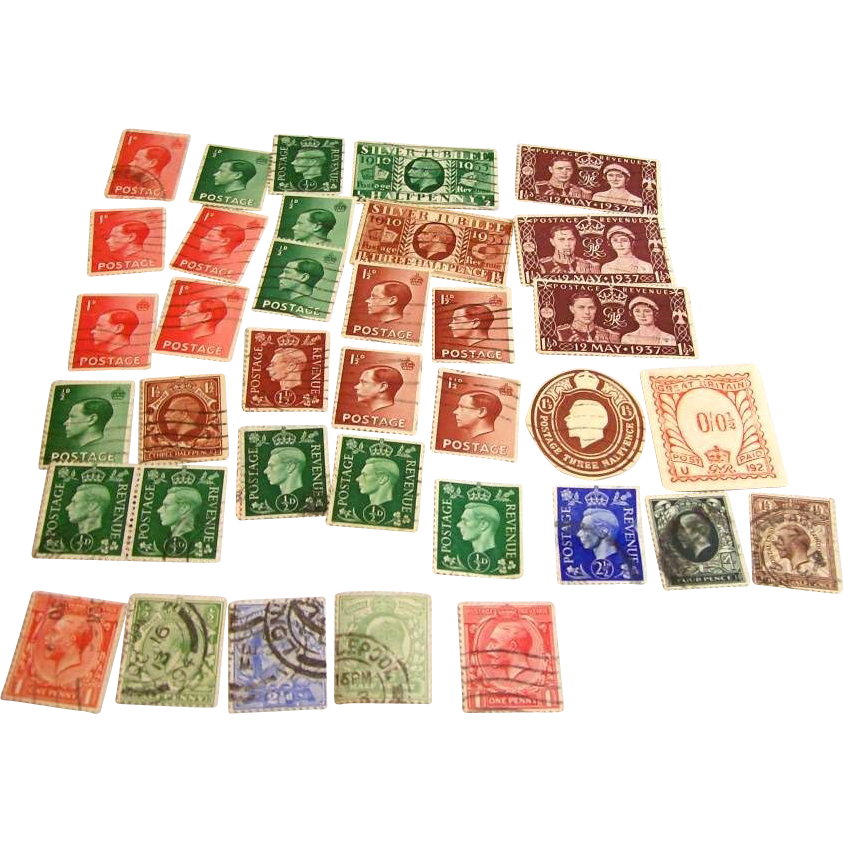 Antique 1890s to early 1900s era lot of used cancelled stamps from Great Britain