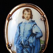 Beautiful Vintage Porcelain Portrait of Blue Boy Brooch