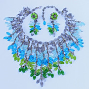 """Vintage signed.. """"Miriam Haskell"""" Glass Necklace & Earrings"""