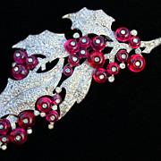 Vintage Trifari Holly & Berries Pave' Rhinestone Fur Clip Pin