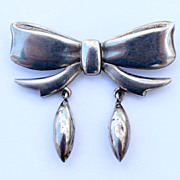 "Vintage Sterling Signed... ""Otto Grun"" Dangle Bow Pin"