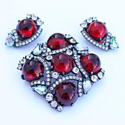 """Rare & Beautiful """"Schiaparelli"""" Brooch & Earrings 1960s"""